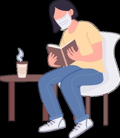Girl in medical mask Illustration