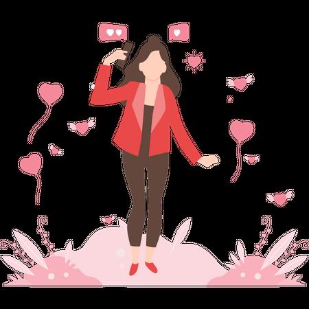 Girl in online relationship Illustration