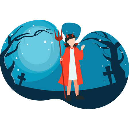 Girl in scary clothes Illustration