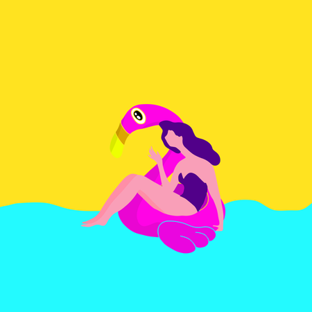Girl in the pool at the pink flamingo Illustration