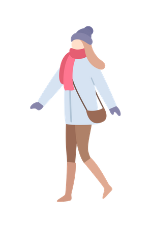 Girl in winter clothes Illustration