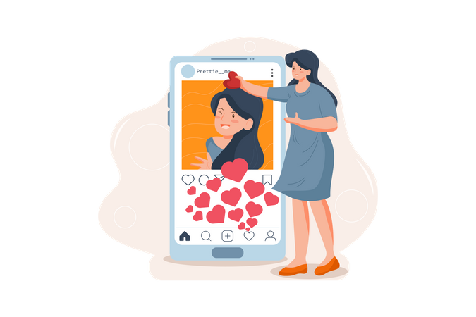 Girl is getting excited because of her high social network interaction Illustration