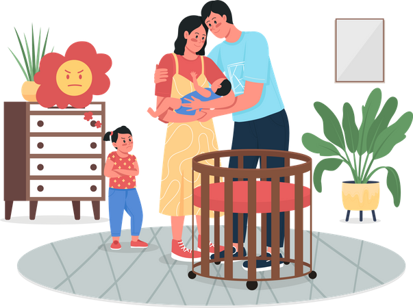 Girl jealous with parents' newborn baby Illustration