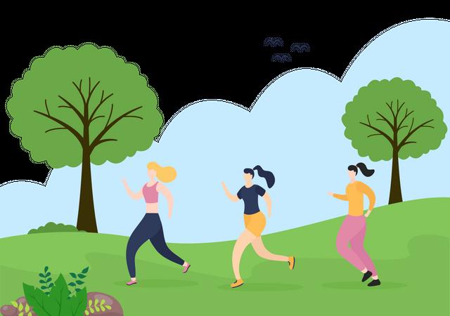 Girl Jogging In Park Illustration