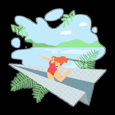 Girl jumping Illustration