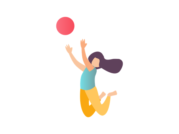 Girl jumping to catch ball Illustration