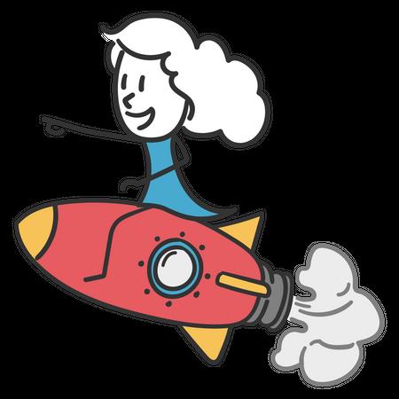 Girl leading the business Illustration