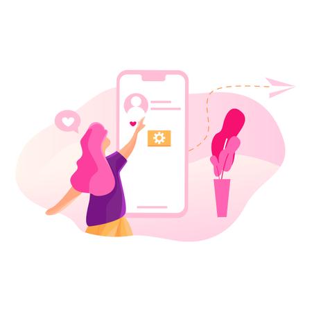 Girl liking a boy profile in social media Illustration