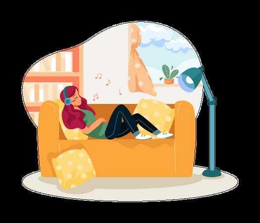 Girl listening music Illustration