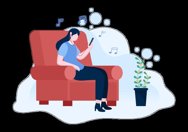 Girl listening music on mobile Illustration