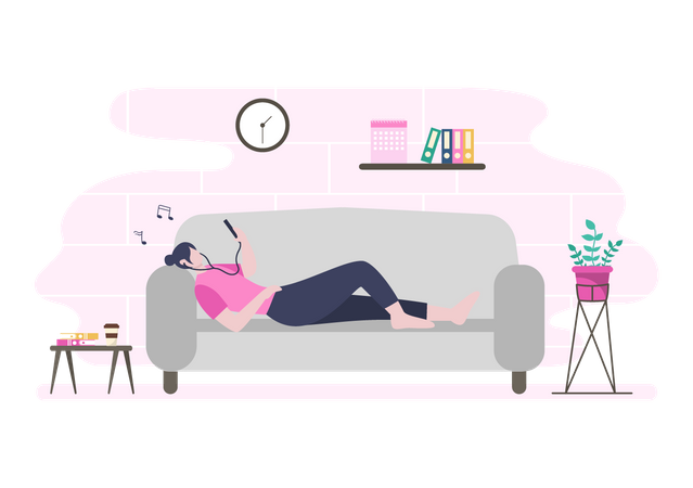 Girl listening music while lying on sofa Illustration