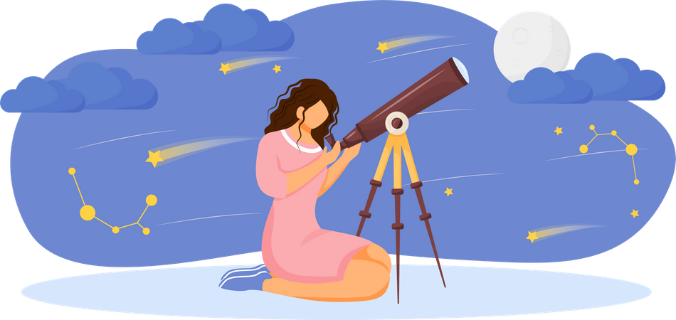 Girl looking at stars and moon with telescope Illustration