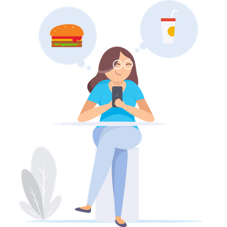 Girl Looking for food in smartphone Illustration