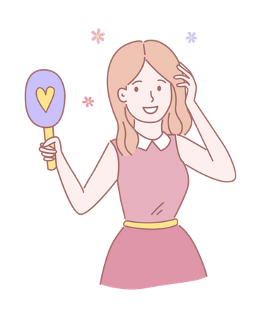 Girl Looking in Mirror and doing makeup Illustration