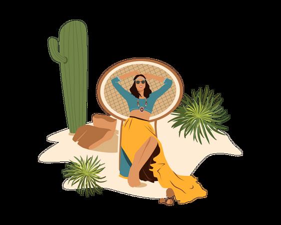 Girl lying on chair Illustration