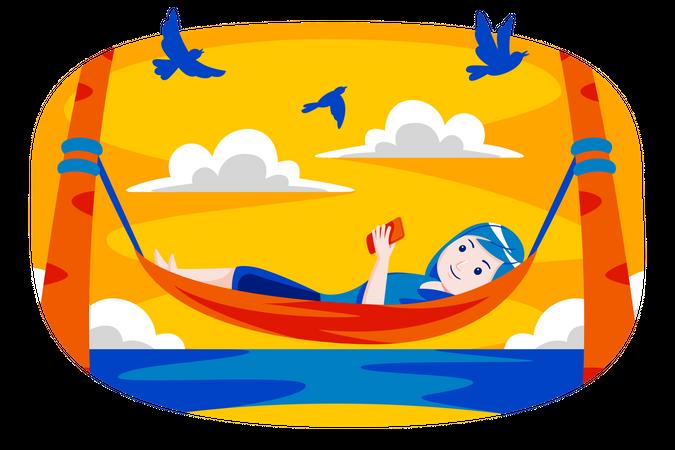 Girl lying on tree swing Illustration