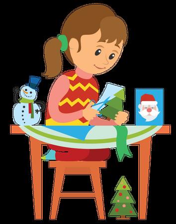 Girl making paper christmas tree Illustration