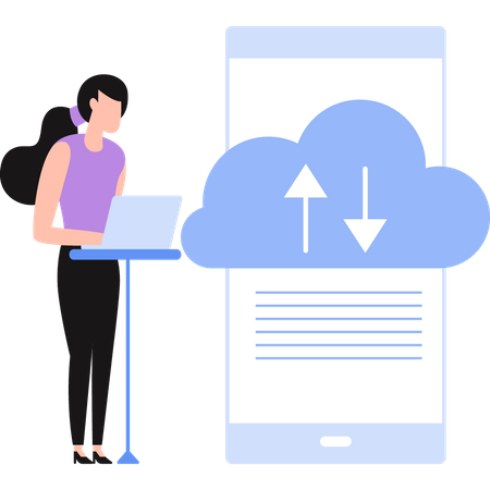 Girl manages business files on cloud storage Illustration