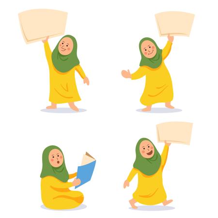 Girl Moslem Kids Character Bring Blank Paper Set Illustration