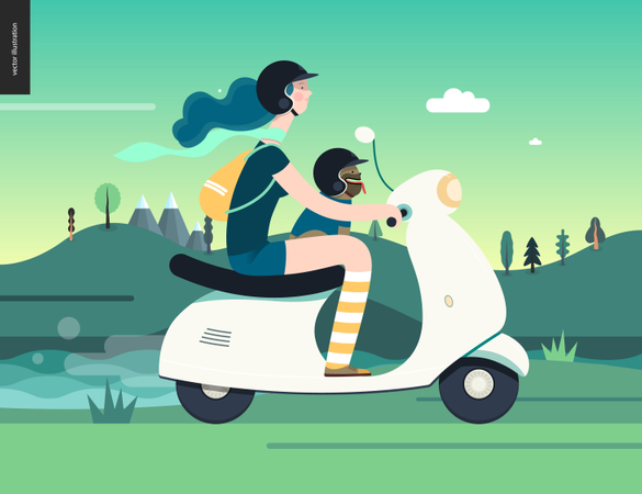 Girl on a scooter Illustration