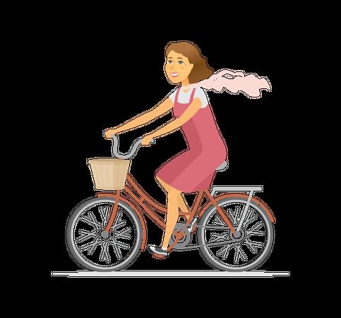 Girl on bicycle Illustration