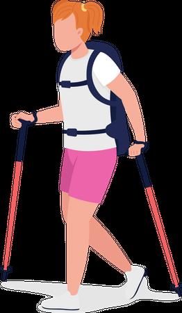 Girl on Nordic walk Illustration