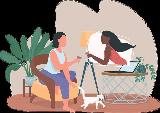 Girl on online date Illustration