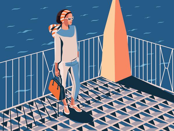Girl on the seaside Illustration