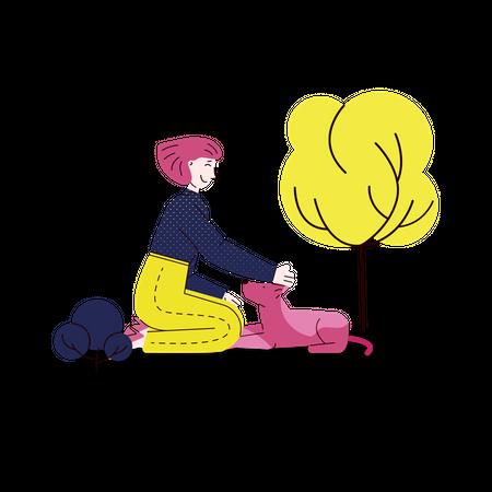 Girl pampering her pet dog Illustration