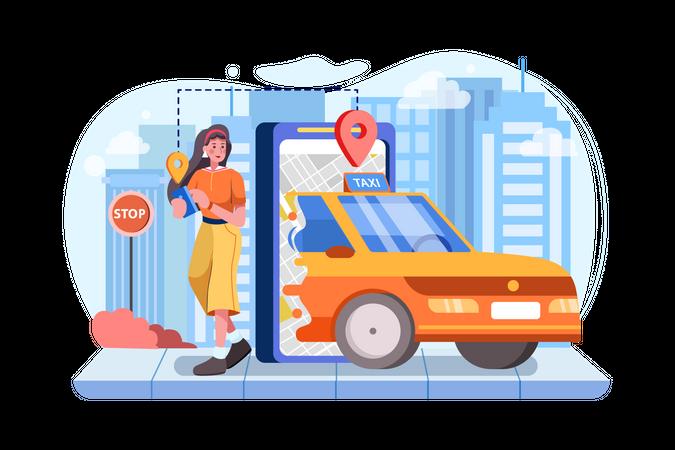 Girl passenger sending her location to cab driver Illustration