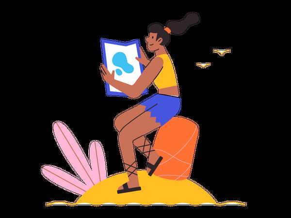 Girl planning vacation trip Illustration