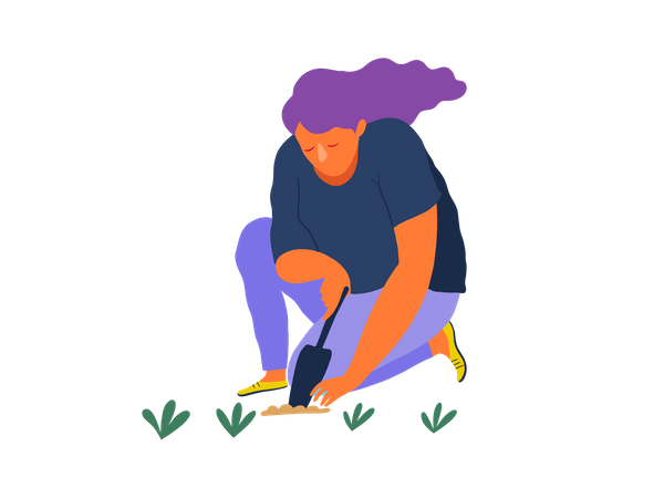 Girl planting tree Illustration