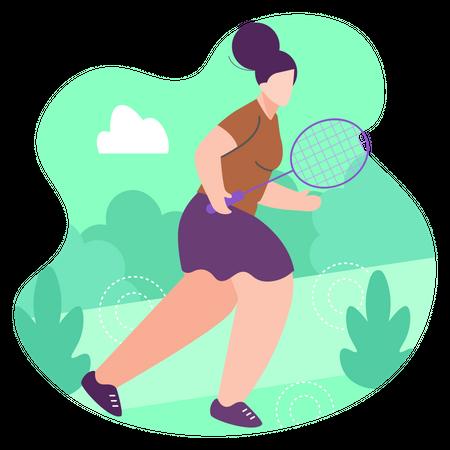 Girl playing badminton Illustration
