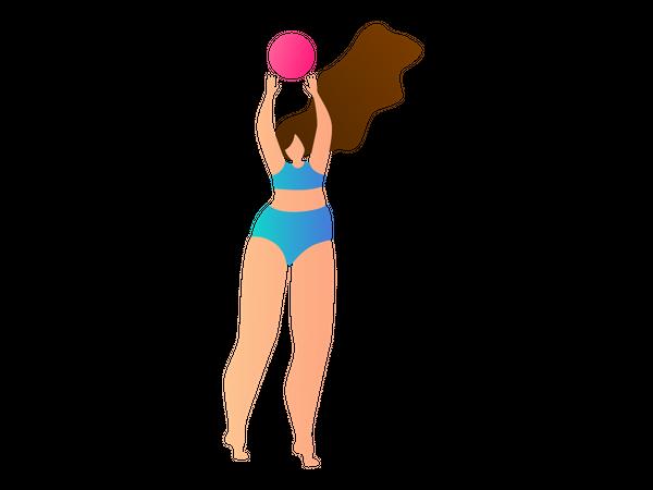Girl playing basketball Illustration