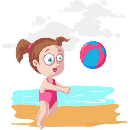 Girl playing beach volleyball Illustration