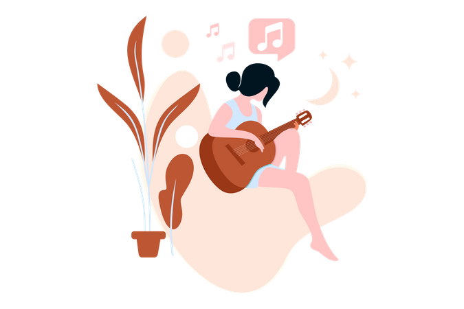 Girl Playing Guitar Illustration