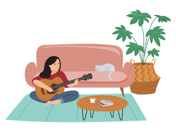 Girl playing violin Illustration