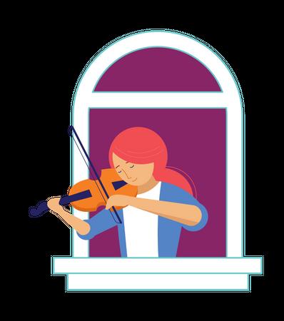 Girl playing violin in balcony Illustration