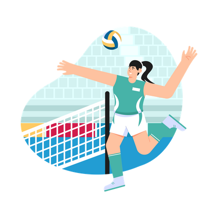 Girl playing volleyball Illustration