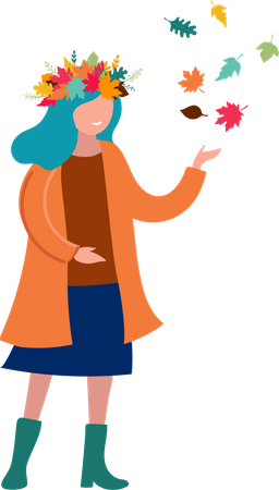 Girl Playing with colorful Leaves Illustration