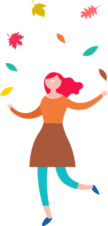 Girl Playing with leaves Illustration