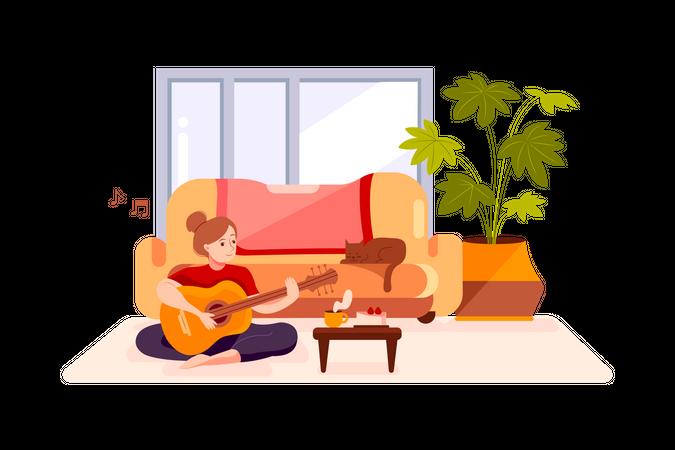 Girl plays guitar Illustration