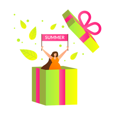 Girl Pop Up out of Huge Wrapped Gift Box Illustration