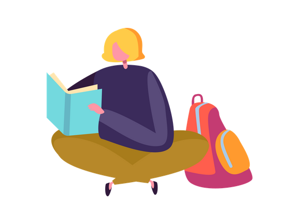 Girl preparing for exam Illustration