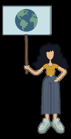 Girl promoting world protection Illustration