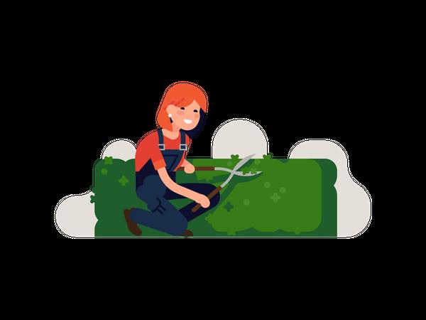 Girl pruning Grass Illustration