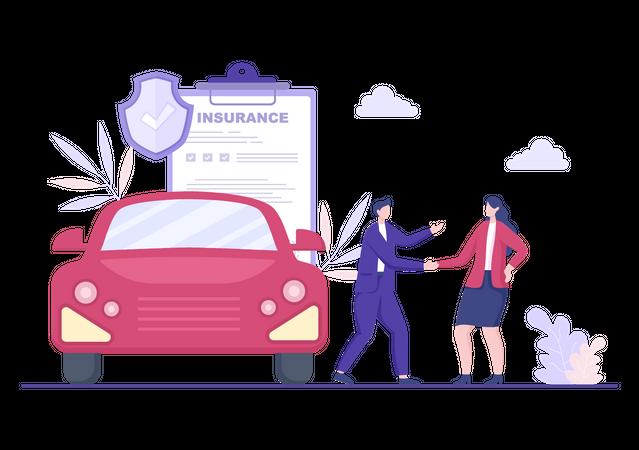 Girl purchased car insurance Illustration