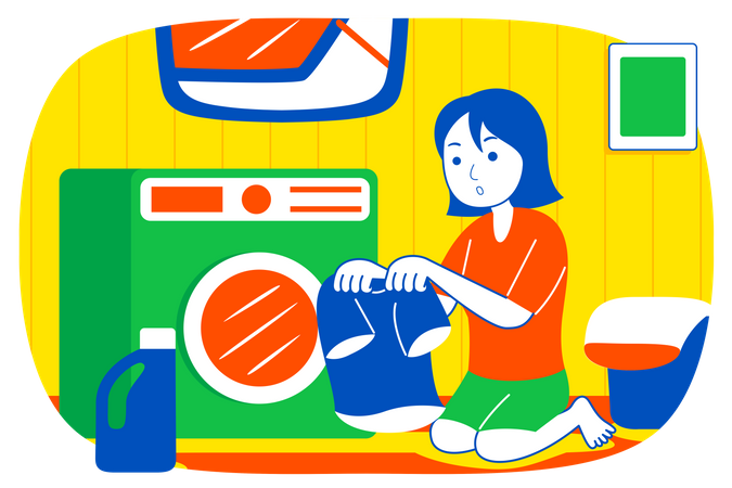 Girl putting clothes in washing machine Illustration