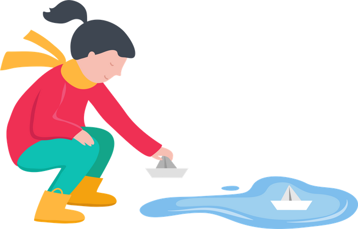 Girl putting paper boat in water Illustration