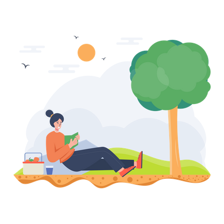 Girl reading a book Illustration